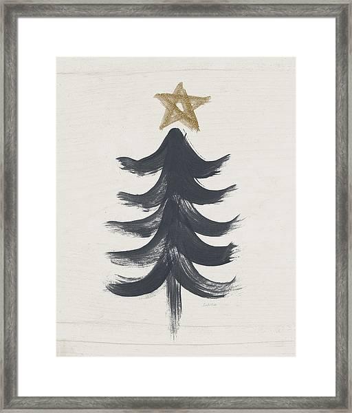 Modern Primitive Black And Gold Tree 1- Art By Linda Woods Framed Print