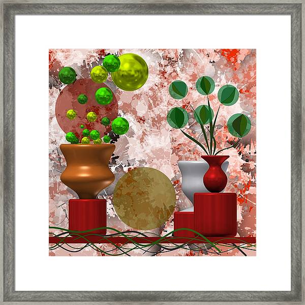 Modern Still Life With Abstract Flowers Framed Print