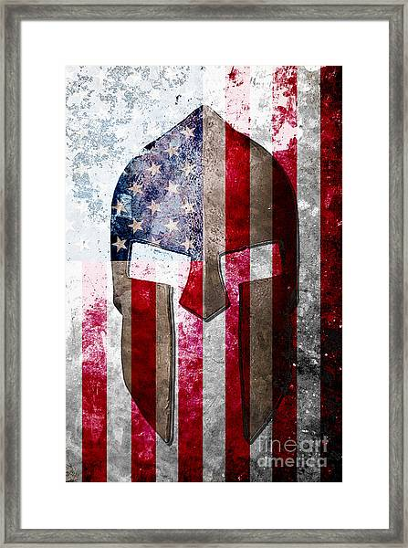 Molon Labe - Spartan Helmet Across An American Flag On Distressed Metal Sheet Framed Print