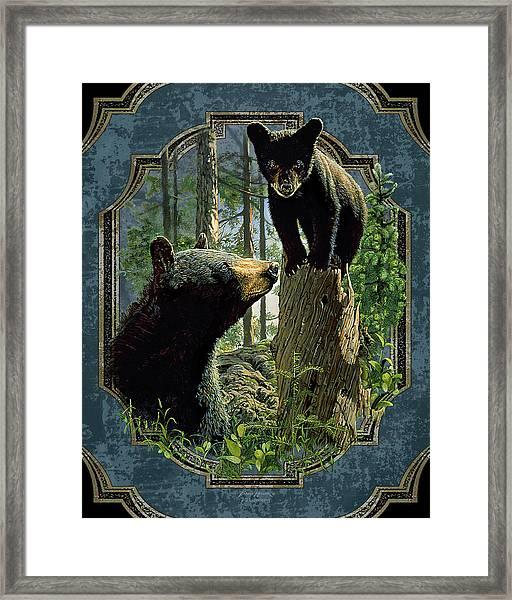 Mom And Cub Bear Framed Print