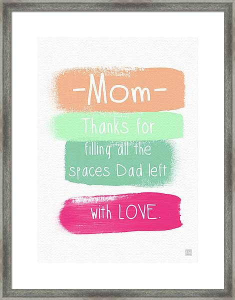 Mom On Father's Day- Greeting Card Framed Print