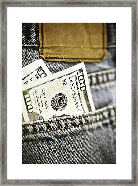 Money Jeans Framed Print