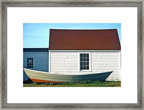 Framed Print featuring the photograph Monhegan Boat by AnnaJanessa PhotoArt