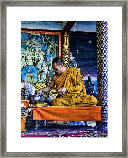 Monk At Big Buddha  Framed Print