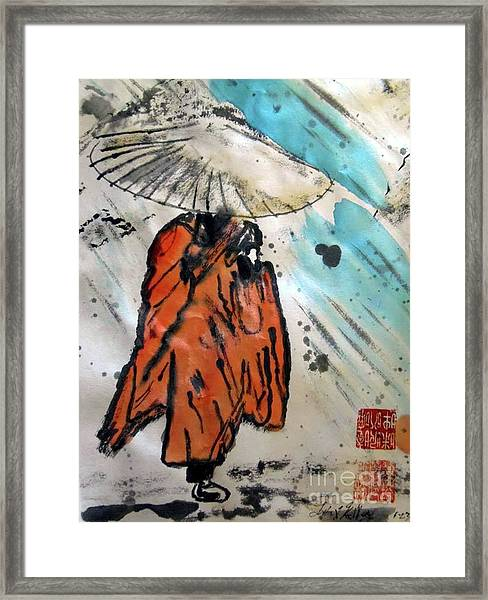 Monk In Rain, Chinese Watercolor Framed Print