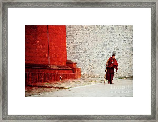 Monk In Tashilhunpo Monastery Shigatse Tibet Yantra.lv Framed Print