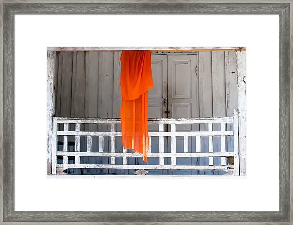 Monk's Robe Hanging Out To Dry, Luang Prabang, Laos Framed Print