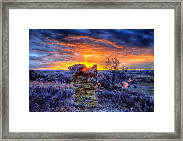 Monolithic Sunrise Framed Print