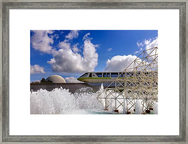 Monorail And Spaceship Earth Framed Print