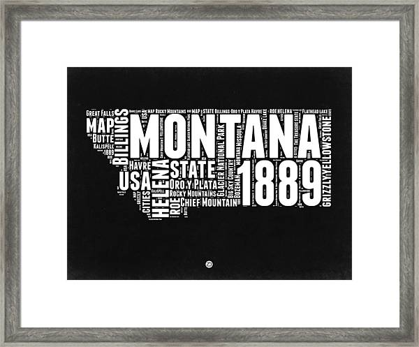 Montana Black And White Map Framed Print