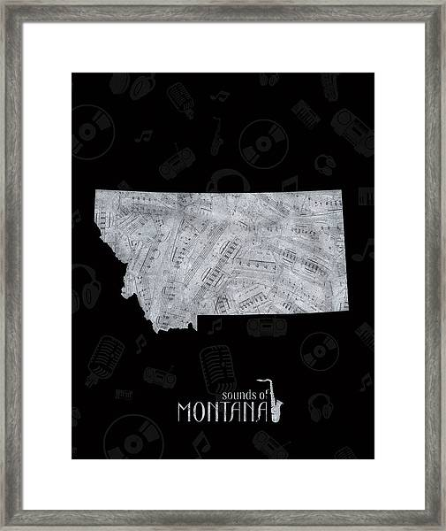 Montana Map Music Notes 2 Framed Print