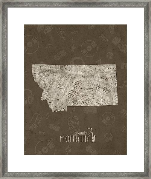 Montana Map Music Notes 3 Framed Print