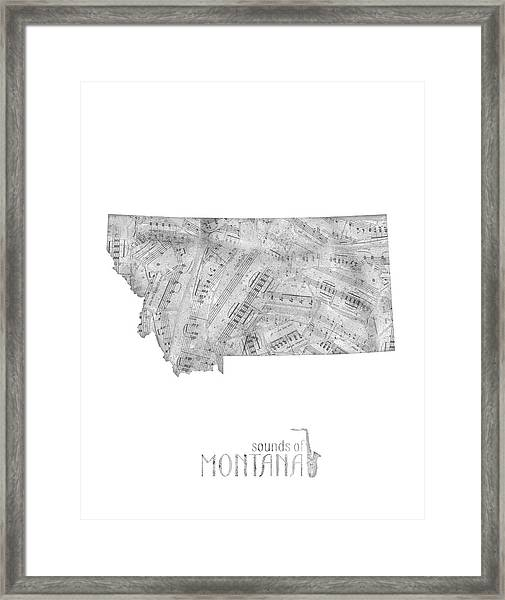Montana Map Music Notes Framed Print