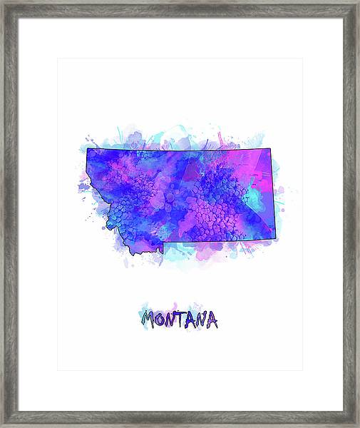 Montana Map Watercolor 2 Framed Print