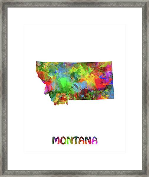 Montana Map Watercolor Framed Print