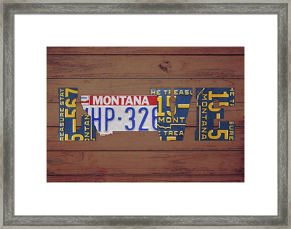 Montana State Love Heart License Plates Art Phrase Framed Print