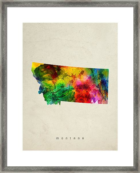 Montana State Map 01 Framed Print