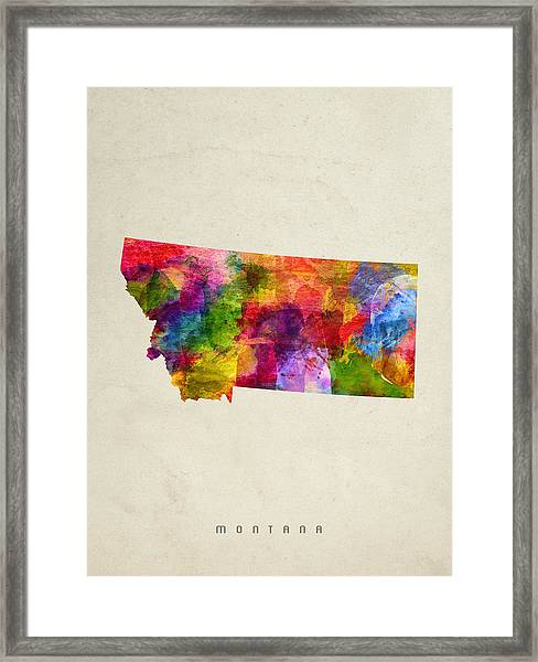 Montana State Map 02 Framed Print