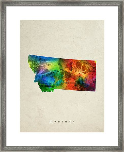 Montana State Map 03 Framed Print