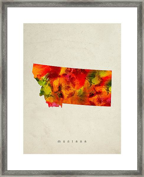 Montana State Map 04 Framed Print