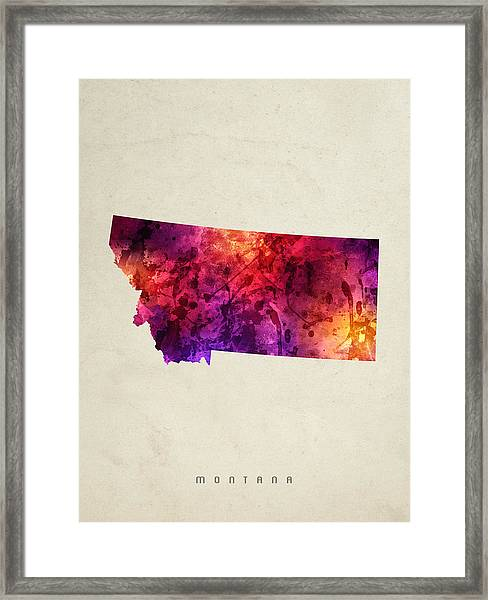 Montana State Map 05 Framed Print