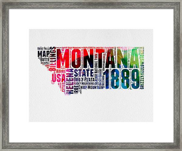 Montana Watercolor Word Cloud  Framed Print