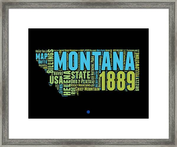 Montana Word Cloud 1 Framed Print