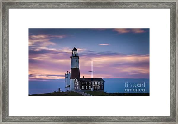 Montauk Lighthousepastel  Sunrise Framed Print