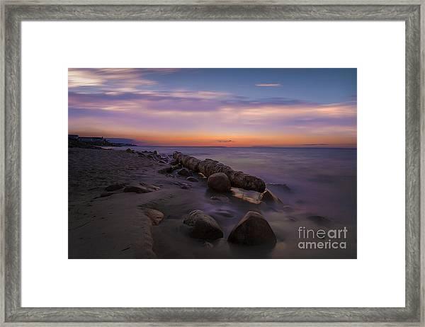 Montauk Sunset Boulders Framed Print