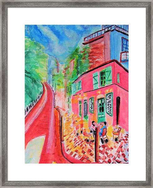 Montmartre Cafe In Paris Framed Print
