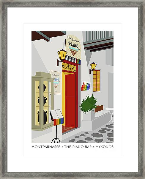 Framed Print featuring the digital art Montparnasse The Piano Bar by Sam Brennan