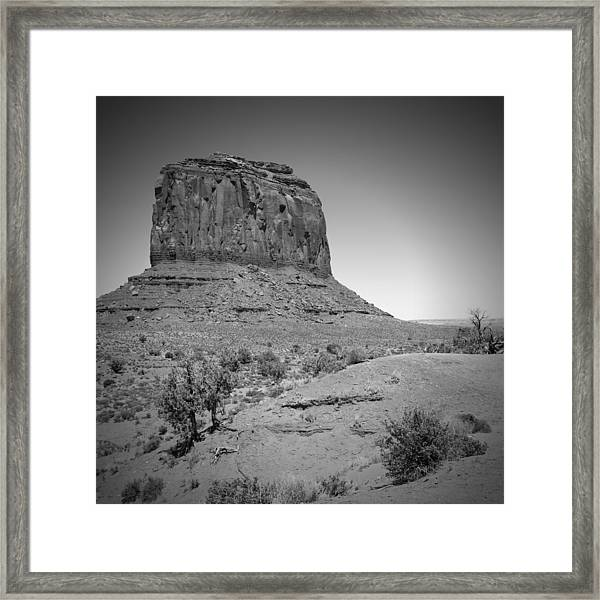 Monument Valley Merrick Butte Black And White Framed Print by Melanie Viola