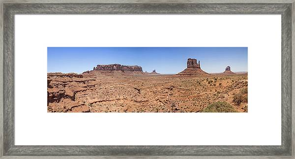 Monument Valley Panoramic Valley View Framed Print by Melanie Viola