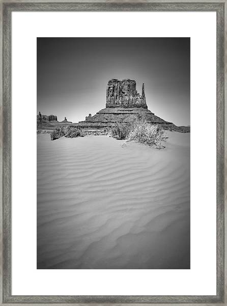 Monument Valley West Mitten Butte Black And White Framed Print by Melanie Viola