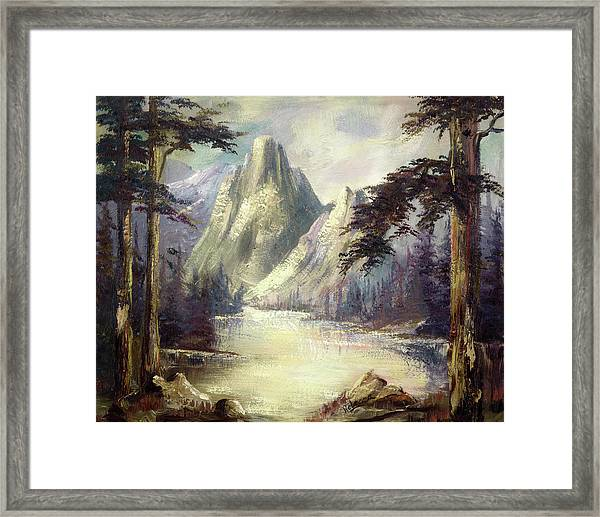 Moody Mountain Framed Print
