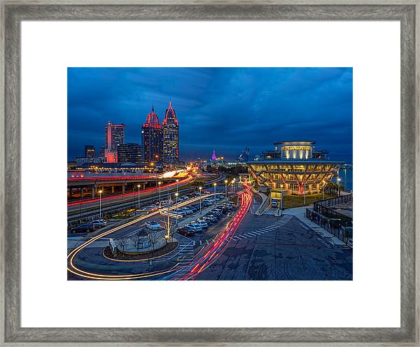 Moody Night In The Port City Framed Print