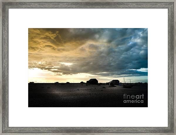 Moody Sky, Dungeness Beach  Framed Print
