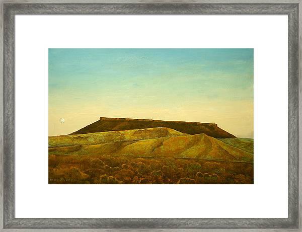 Moon And Mesa Framed Print