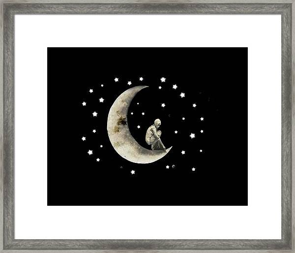 Moon And Stars T Shirt Design Framed Print