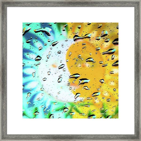 Moon And Sun Rainy Day Windowpane Framed Print