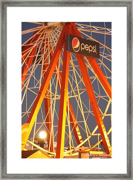 Moon And The Ferris Wheel Framed Print