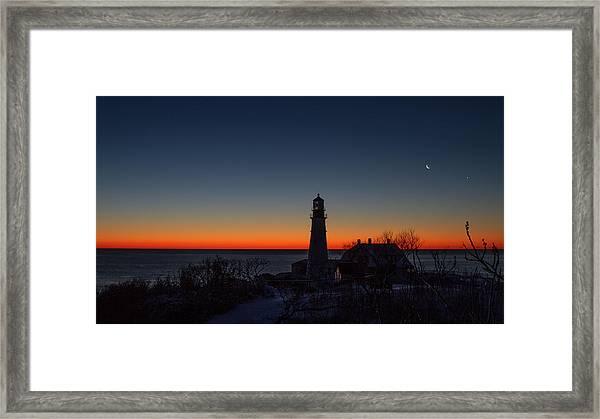 Moon And Venus - Headlight Sunrise Framed Print