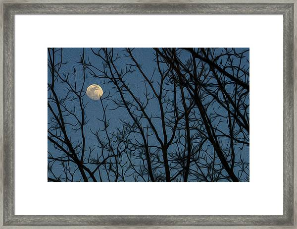 Moon At Dusk Through Trees - Impressionism Framed Print