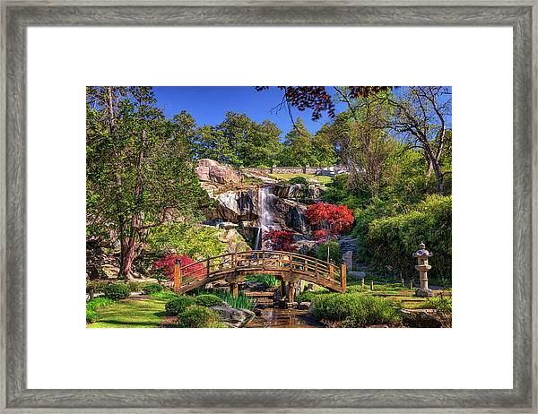 Moon Bridge And Maymont Falls Framed Print