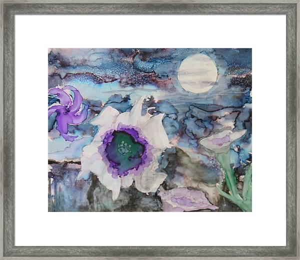 Moon Flower In Bloom Framed Print