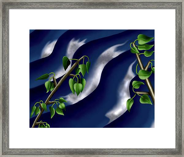 Moon-glow I - Poplars Over Water At Night Framed Print