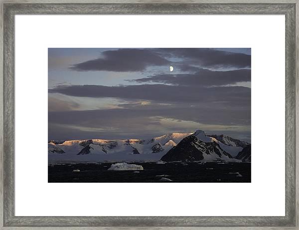 Moon Over Alpine Glow Antarctica Framed Print