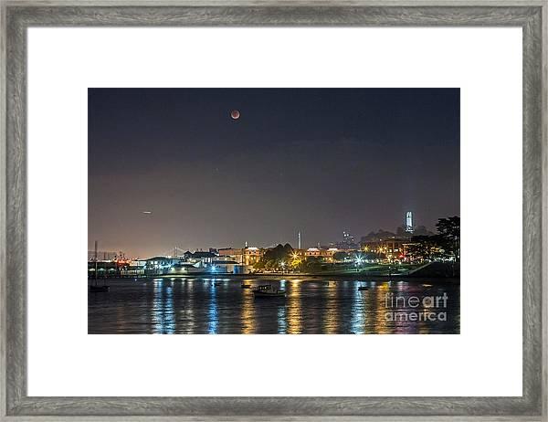 Moon Over Aquatic Park Framed Print