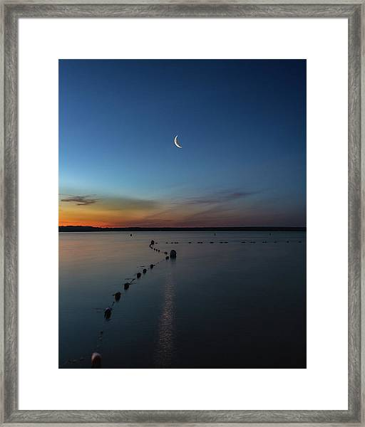 Moon Over Cayuga Framed Print