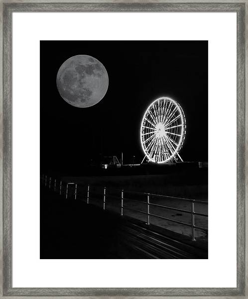 Moon Over Ferris Wheel Framed Print